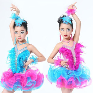 Kids Sequined Ballroom Latin Dancing Dress Child Dance Costume Tutu Dress For Child Girls Modern Jazz Dancewear Stage Outfits