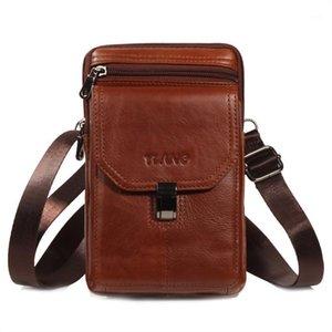 حقيقي جلد البقر الرجال الرجال الخصر أكياس للرجل حزام الخصر حزم الكتف حقيبة السفر crossbody حقيبة الذكور الهاتف الحقيبة فاني حزمة 1