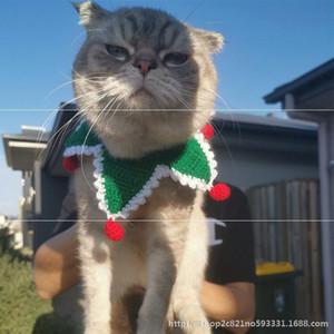 Dog Baby Christmas Collar Pet Jewelry Cat Woven Bib Saliva Scarf Neck