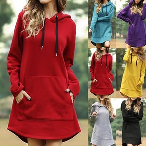 Hooded Tunic Sweatshirt Dress Drawstring Poleron Mujer 2020 Kangaroo Pocket Irregular Hoodies Women Casual Hoodie Long Sleeve