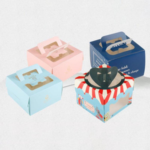 5 pcs  kraft gift box cake West Point white dessert pink green packaging paper cup wedding party portable paper box carton