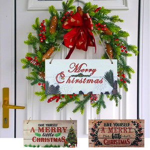 1pc Merry Christmas Wooden Board Plaques Wood Christmas Tree Door Hanging Ornament for Navidad New Year Home Decor Xmas Garland