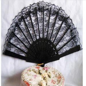 Vintage Lady danse main scène Performance pliante classique fleur pour la qualité Fan Fan de dentelle haute fille de poche Rétro (noir) Vintag bbyzp