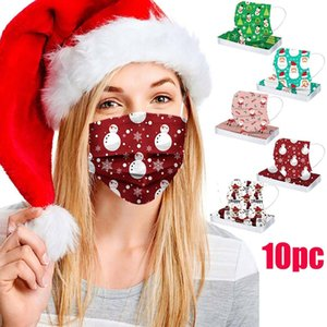 new Cosplay 3-Layer mascarillas Disposable Reusable Christmas Print Face masque adulte Washable Cloth Mask #J15