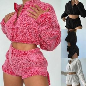 2020 Winter Fashion Warm Plush Fleece 2 Piece Set Homewear Women Sexy Long Sleeve Crop Tops+Shorts Streetwear Casual Outfits