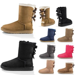 Wholesale New Top Quality Fur Leather Women Boots SatinUggUggs Australian Ankle Winter Snow booties Women Designer Boots Shoes