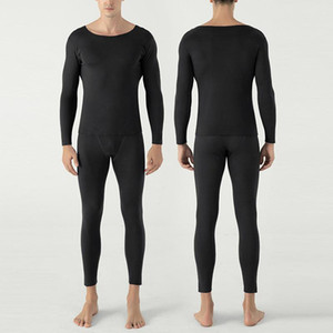 Мужчины теплого толстого Осень Зима Термобелье наборы Мужской Velvet O шея Лонг Джонс Термобелье для мужчин рубашки краги