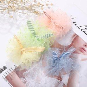 VEKNO girl polka dot hair clip four-color mesh yarn with striped bow cute hair clip wild headdress