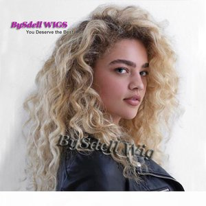 Premium Natural White Woman Hairstyle Wig Black Roots Ombre Blonde color Hnad Woven Wide Scalp Lace Front wigs for white women