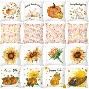 Cover Thanksgiving Pillow 2020 Yellow New Pumpkin Sunflower Office Cushion Cover Sofa Pillow Cover