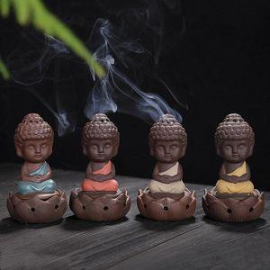 Kleiner Mönch Thurible Dekorative Geschenke Keramik Lila Sand Buddha Räucherstäbchen für Hauptdekor Arts And Crafts OWE1218