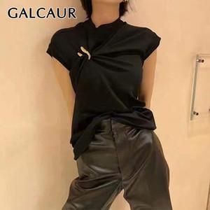 Chalecos de hebilla en forma de U Galcaur de Galcaur para las mujeres O cuello sin mangas asimétrica chaleco elegante chaleco femenino nueva ropa 201027