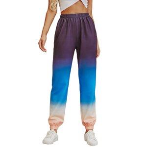 Les femmes de couleur contrastée Sport Pantalon taille élastique lâche High Street Pantalons Famale Pantalons simple