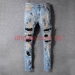 Famous Mens stylist Jeans Slim Fit Mens Skinny Jeans Men Women Motorcycle Biker Hip Hop Distressed Ripped Jeans Pants