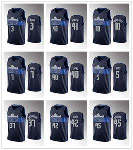 DallasMavericksMenNBA Luka Doncic Kristaps Porzingis Seth Curry Tim Hardaway Jr. Powell Navy Basketball Jersey