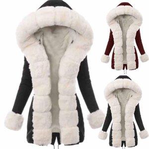 PLUS Taille Veste d'hiver Femmes Fake Fourrure manteau de fourrure Collier long Parkas Outerwear Nouvelle mode Casual Streetwear Vente chaude