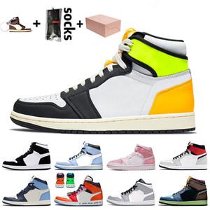 nike air jordan 1 2020 scatola jumpman 1 1s Nuova Pallacanestro scarpe scure Mocha Jumpaman 1 1s alta OG Chicago delle donne degli uomini Travis Sneakers