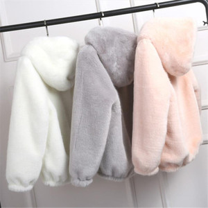 2020 New Faux Fur Coat With Hood High Waist Fashion Slim Black Red Pink Faux Fur Jacket Fake Rabbit D390
