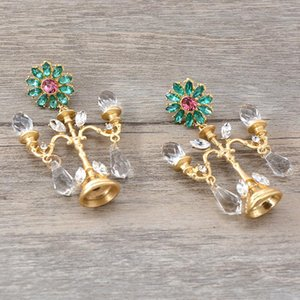 Crystal Chandelier Fashion Vintage Earrings Exaggerated Ear Ornaments Retro Long Drop Earring