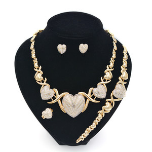 Jeu de bijoux XOXO pour femmes Colliers Boucles d'oreilles 14K Gold Bijoux Ensembles pour femmes de mariage Boucles d'oreilles pour femmes
