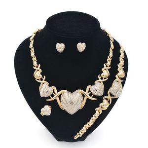 Women Gold Set For Women XOXO Earrings Jewelry Sets Jewelry 14K For Wedding Earrings Necklaces Set Rcxep