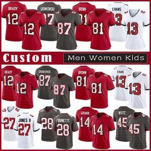 12 Tom Brady Custom Men Donne Bambini calcio Jersey 87 Rob Gronkowski 81 Antonio Brown 13 Mike Evans 14 Chris Godwin 27 Ronald Jones 45 Bianco