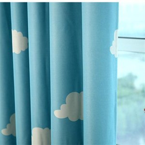 Blue Sky White Cloud Print Curtains for Boys Girls Kid's Bedroom Pink Semi-Shading Cartoon Window Curtain Drapes WP125#50