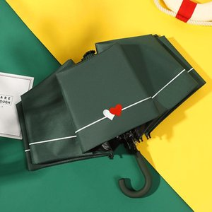 Яда Double Love Heart Red White Umbrella дождь Женщины Ув крюк U-образный ручки Зонтик для женщин Дети ветрозащитный Зонтики Ys200051 bbyjiy