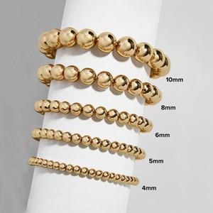 Позолоченные круглые драгоценные камни Браслеты из бисера Мода Женщины Подвески с бисером Браслет для мужчин Женщина Растяжек Браслет 4 мм 5 мм 6 мм 8 мм 10 мм