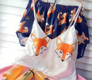 QWEEK QWEEK Flamingo pijama de seda Sexy Pijamas Mulheres cetim pijama Femme Imprimir V Neck Início Suit Pijamas Summer99