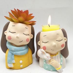 3D красивая девушка цветочный горшок силиконовые формы выпечки плесень шоколада смола свеча плесень бесплатная доставка 201023