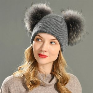 Double Real Fur Pom Pom Hat Women Winter Caps Knitted Wool Hats Skullies Beanies Girls Female Natural Two Fur PomPom Beanie Hat LJ201221