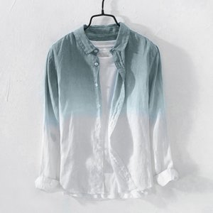 Dcontract Hawaii chemise hommes manches longues Cool mince respirant marque ample homme chemises en lin chemises d't vtements pour ho