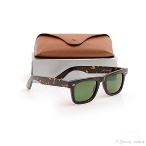 Alta Qualidade Prancha Sol Óculos de Lente de Vidro Quadro Quadro Verde Lente Metal Dobradiça Ray Mens Womens Sunglasses Wayfarers Sun Óculos