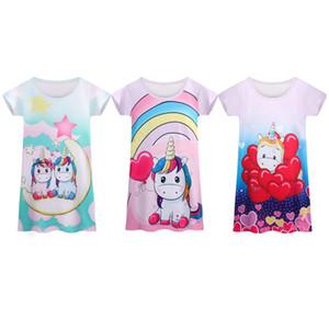 {Sweet Baby} Children Girls Short Sleeve Dresses Unicorn T Shirt One Piece Dress INS Kids Cartoon Dress Clothing