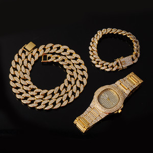 Necklace +Watch+Bracelet Hip Hop Miami Curb Cuban Chain Iced Out Paved Rhinestones CZ Bling Rapper For Men Jewelry