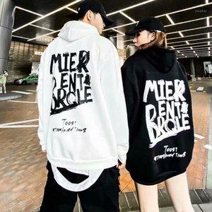 Sonbahar Hip Hop Hoodies Kadınlar Mektup Gevşek Trendy Harajuku Streetwear Womens Kore Kapüşonlu Sıcak Bayanlar Moda Çift Tişörtü1