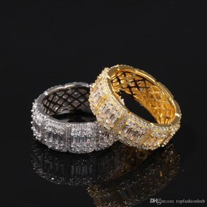 Hip Hop Micro Paved Sqaure Cubic Ziaconia Bling Ice Out Men Round Finger Rings Male Rapper Jewelry