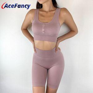 Tuta sportiva Acefancy senza saldatura Breve Zc2842 Bassiera Squatproof bicchierini delle donne Set Yoga fitness Abbigliamento sportivo