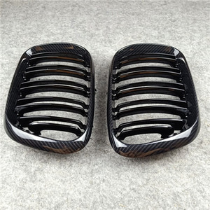 1 SET Car Accessory 2-slat Kidney Grill Grille ABS Material For B-mw X5 E53 1999-2006 Glossy Black Front Racing Grille