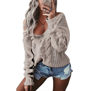 VIPV-Neck deep SHUJIN Knitted Spring Sweaters Women LMVP