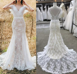 2021 Lace Beach Bobo Wedding Dresses Mermaid V Neck Bridal Gown Backless Destination Custom Made Real Photo Marriage Gowns