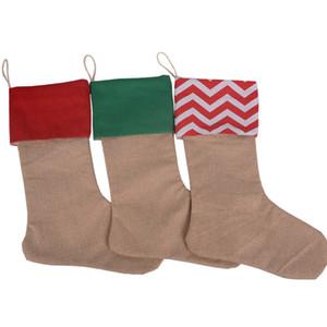 12 개 * 18 개 인치 고품질 캔버스 크리스마스 양말 선물 가방 캔버스 크리스마스 장식 크리스마스 스타킹 대형 일반 삼베 장식 양말