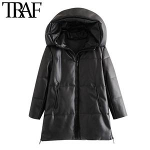 Traf frauen mode dick warm winter winter faux leder parkas mantel vintage kapuze long sleeve weibliche oberbekleidung schicke mantel