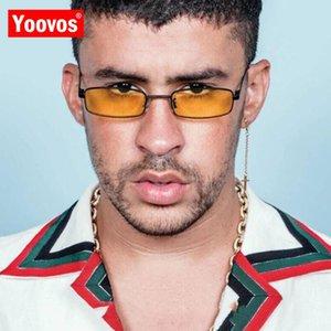 Yoovos Square Sunglasses Women Men Brand Designer Vintage Mirror Glasses Lady Driving Small Frame Gafas UV400