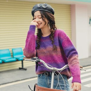 2020 Spring New Arrival O Neck Dropped Shoulder Color Gradual Change Loose Style Knit wear Pullover Sweater Drop Shipping