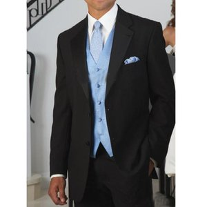 Black Wedding Groomsmen Tuxedos for Men Formal Style 3 Piece Male Clothes Dress Man Suits ( Jacket + Pants + Vest )