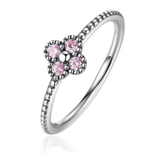 Wholesale 925 Sterling Silver Pink White Clear CZ Romantic Clover Ring Women Fashion Jewelry Free Shipping