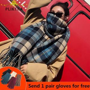 Pliktea 2020 FAUX Écharpe à carreaux en cachemire pour femmes en laine hiver chaleur chaude châle féminin poncho poncho dames épaisses tassel écarts1