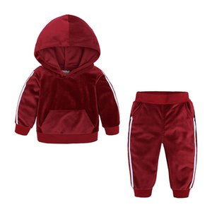Baby Christmas Clothe Girl Clothe Child Winter Keep Warm Velvet Hooded Sets Hids Clothes Toddler Two Piece